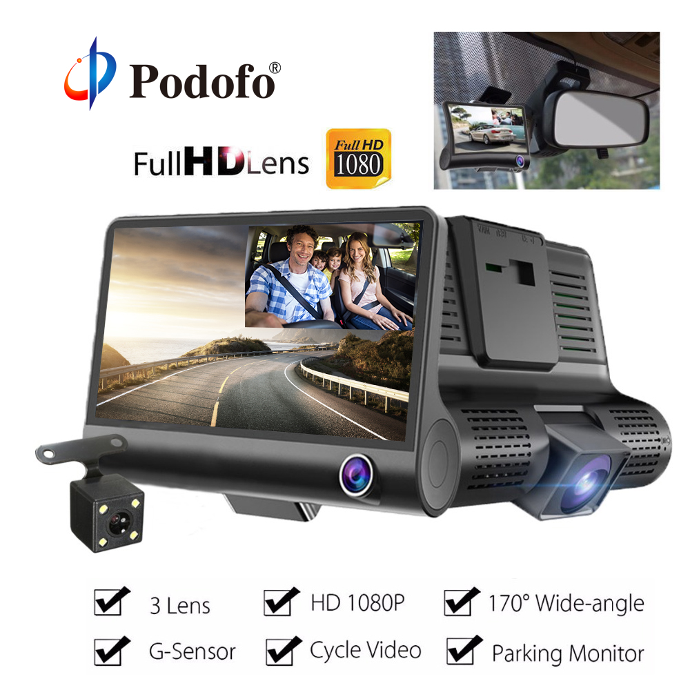 Podofo 4,0 ''3 Way Видеорегистраторы для автомобилей Камера видео Регистраторы заднего вида авто регистратор с двумя Камера s регистраторы видеоре...