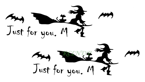 Waterproof Temporary Tattoo Sticker Halloween Riding A Broom Witch