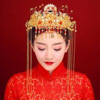 Nuove Spose Ornamenti Per Capelli Gioielli Accessori Per Capelli Da Sposa Stile Cinese Rosso Perline Nappa Fascia Cheongsam Queen Diadema