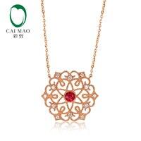 Caimao Винтаж Jewels натуральный красный рубин бриллианты кулон 14 К Розовое Золото изысканная цепочка Milgrain ободок