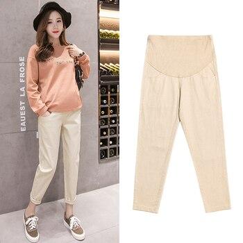 305571b5a De maternidad de algodón pantalones ropa Causal pantalones para las mujeres  embarazadas pantalones de harén pantalones largos pantalones de embarazo ...