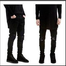 Разрушенные промывали подходящие разорвал уменьшают байкер упругие черные мотоцикл джинсы мужские