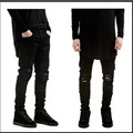 2016 Ripped New  Biker Jeans  Motorcycle  style  elastic  men jeans  Slim Fit Washed  pants  Black colors destroyed men pant