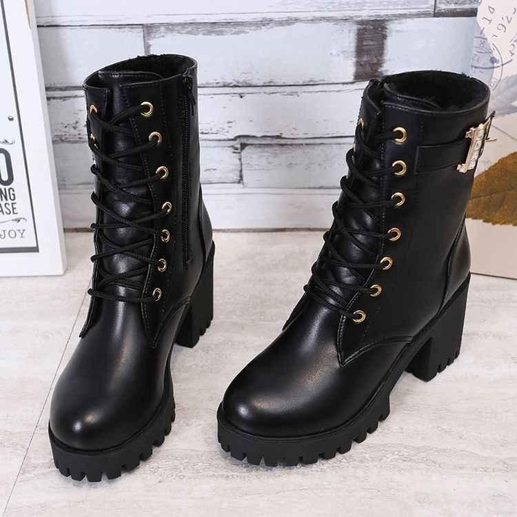 SLYXSH nuevas mujeres Casual lace-up motocicleta botines zapatos pu cuero mujeres invierno cálido tacones altos botas de nieve