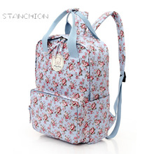 Women Backpack Cotton Fabric Zipper Daily Printed Shoulder Bag Travel Multifunction Fashion Mochila Feminina Floral Rucksack