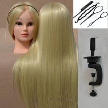 Golden Mannequin Heads Hair Mannequins Frisör Hair Styling Training Women Head Beige Paryck med hållare fäste