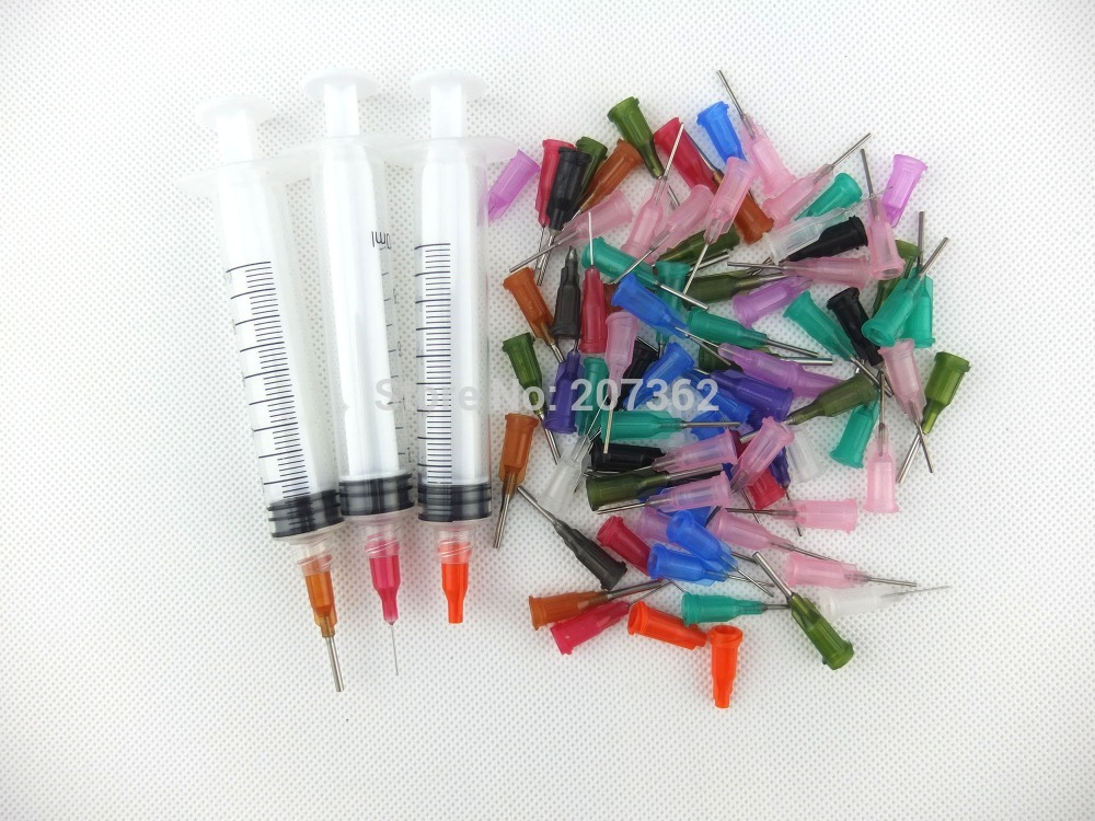 Liquid Dispensing Syringes With mixed-size luer lock Needles 10 syringes 5ml 5cc w dispensing tips