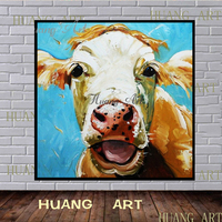 Hot sell pure hand painted oil painting with glasses brown cattle cattle grazing livestock modern simple decoration home