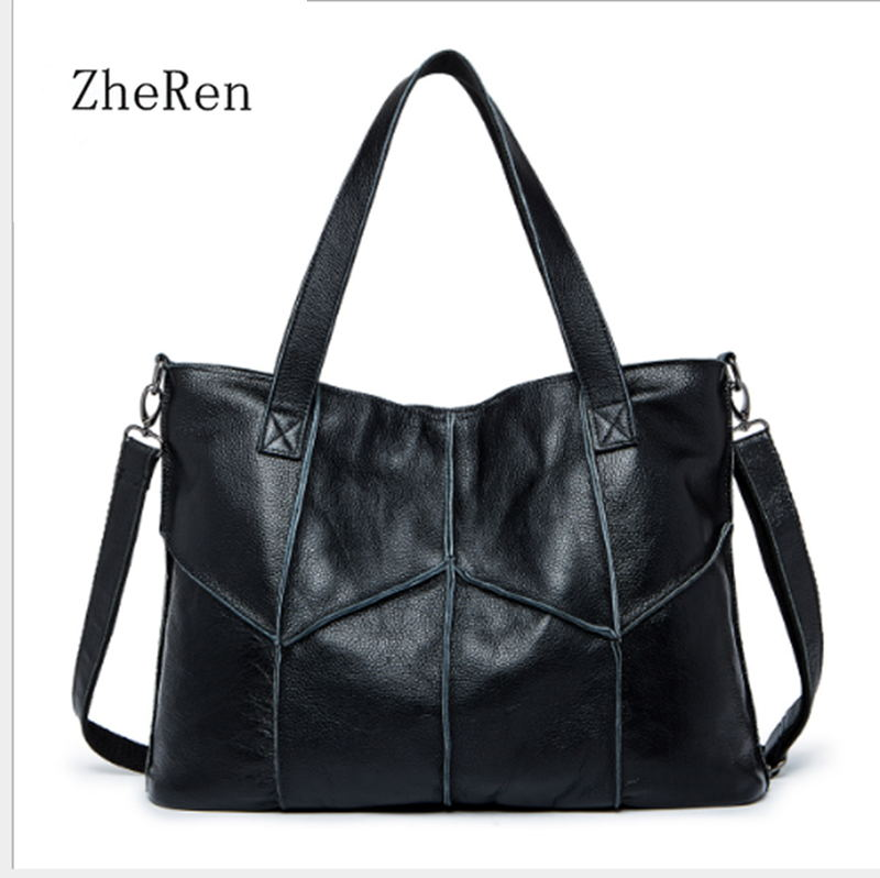 women bag The first layer of leather handbag shoulder bag Handbags stitching diagonal shopping bag leather bag with large capac qiaobao women general genuine leather handbags tide europe fashion first layer of cowhide women bag hand diagonal cross package