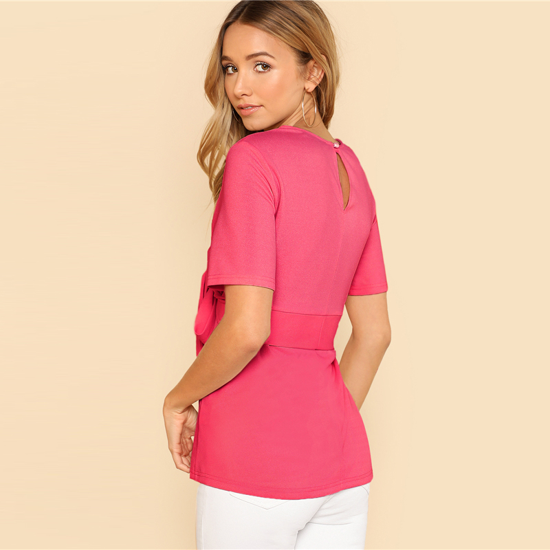 Sheinside Self Belt Keyhole Back Blouse Solid Short Sleeve Top 18 Summer Women Office Ladies Work Elegant Blouse 25