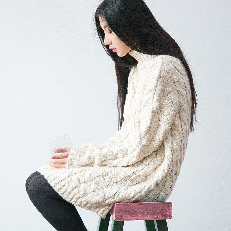 Jerseys Color Punto Largo Cálidos Invierno De Clásicos Para Alto Mujer Tejidos Mori Suéteres Sólido Sólidos Chica Cuello negro Beige rrqwzx7v