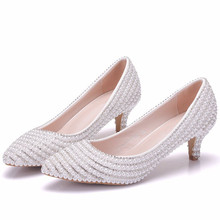 New Wedding Shoes Female Med High-heeled Pointed Stiletto Bridal Shoes White Wedding Crystal Shoes Rhinestone Shoes XY-A0300