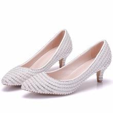 New Wedding Shoes Female Med High-heeled Pointed Stiletto Bridal White Crystal Rhinestone XY-A0300