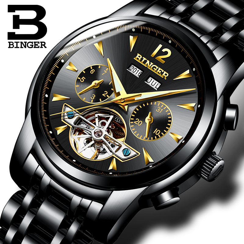 Switzerland BINGER Watches Men full Calendar Tourbillon sapphire multiple functions Water Resist Mechanical Male Clock B8608M4