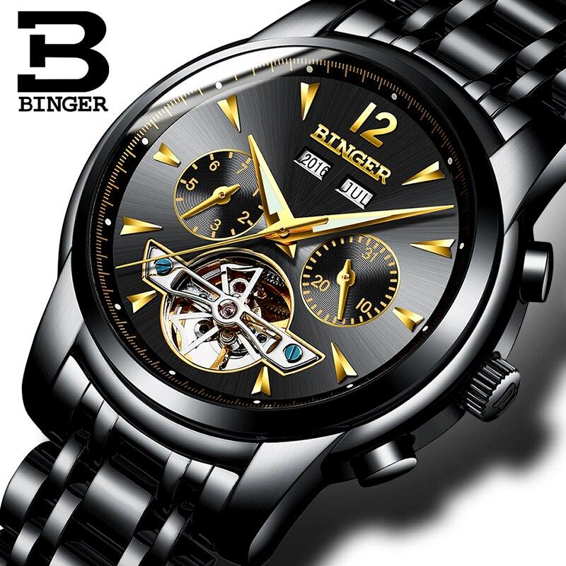 Швейцария БИНГЕР часы Для мужчин полный календарь Tourbillon сапфир несколько функций воды противостоять механическим мужской часы B8608M4