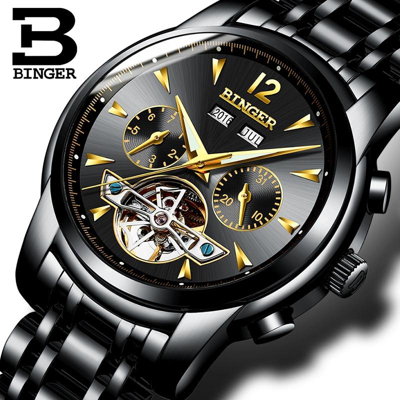 Suisse BINGER montres hommes calendrier complet Tourbillon saphir fonctions multiples résistant à l'eau mécanique mâle horloge B8608M4