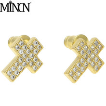 MINCN Men Earring men Cross earings Hip hop cross microinlaid zirconium copper earnail mens earring