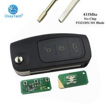 OkeyTech нет чипа Флип складной 3 кнопки 433 МГц Uncut FO21/HU101 лезвие дистанционного ключа для Ford Focus Fiesta MK7 Mondeo MK3 MK4 Ranger