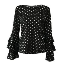 Women Flare Long Sleeve T Shirt Tops Plus Size Women Polka Dot Loose T-Shirts