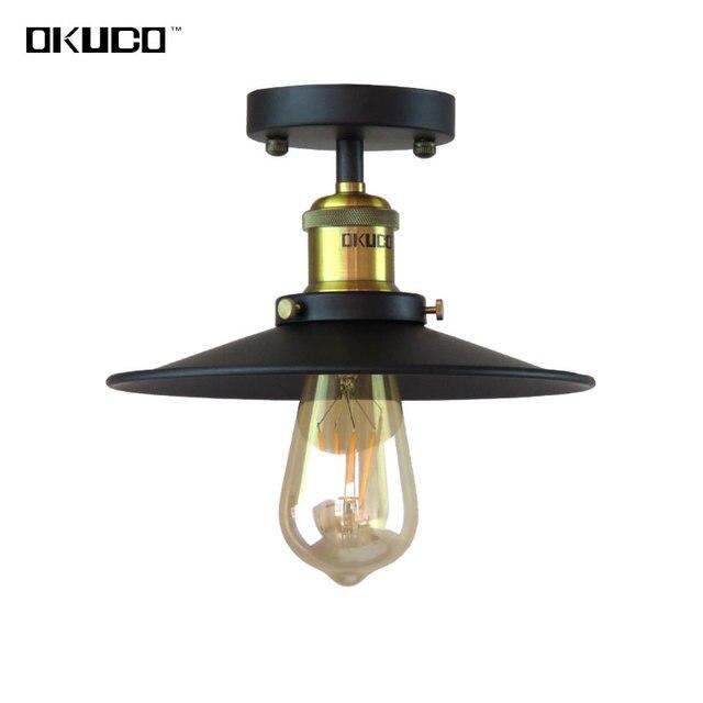 Vintage Ceiling Lights Fixtures Retro Kitchen Lamp Iron Lampshade Diameter 20/26/30CM Luminaria For Restaurant Dining Room