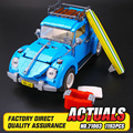 2016 ЛЕПИН 21003 Создатель Серии Городской Автомобиль Volkswagen Beetle модель Строительные Блоки Совместимы Blue Техники Автомобиль Игрушки 05007