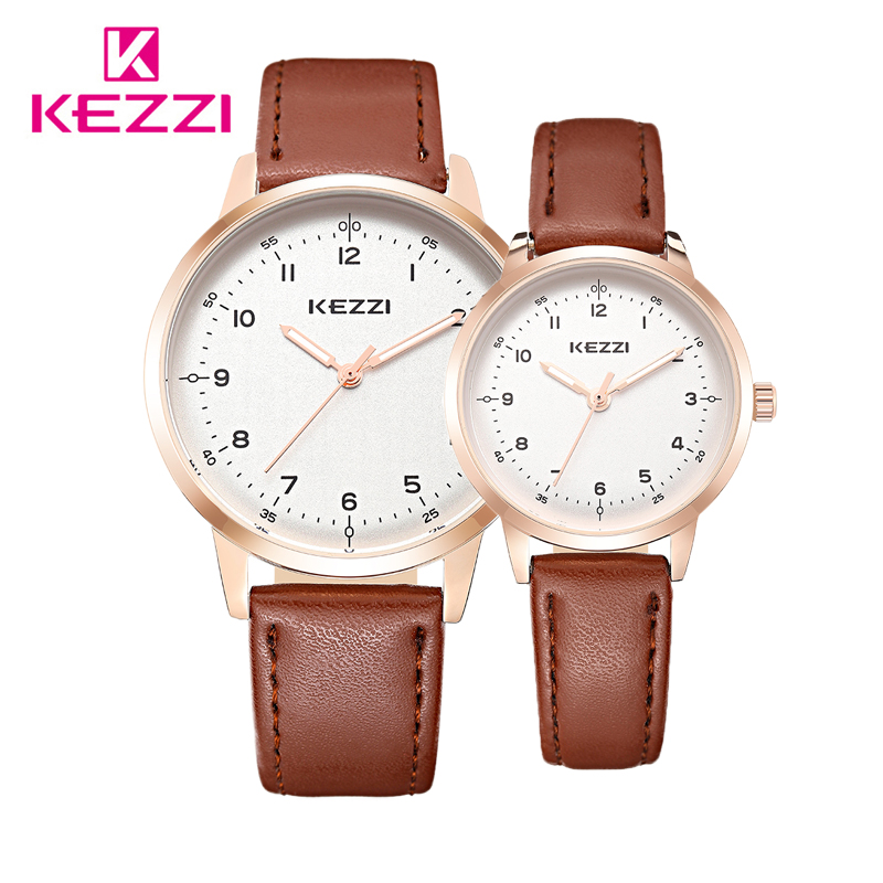 KEZZI Brand Watches for Women Men Couple Quartz Watch Waterproof Lover Wristwatches 2018 Luxury Minimalist Leather Wrist Watches longbo men and women stainless steel watches luxury brand quartz wrist watches date business lover couple 30m waterproof watches