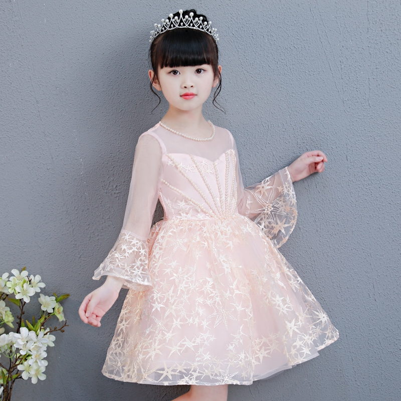2018 New Luxury Baby Girl Christening Ball Gown Wedding Princess Dress Hand Beading Birthday Holiday Party Dress Tutu Dress half placket pearl beading tie cuff dress