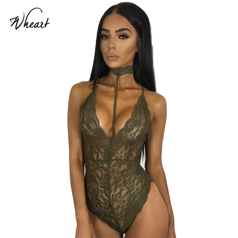 Wasteheart 2017 New Fashion Women Black Red Gray Sexy Cross Straps Soft Backless Lace Bodycon Halter Choker Deep V Bodysuits