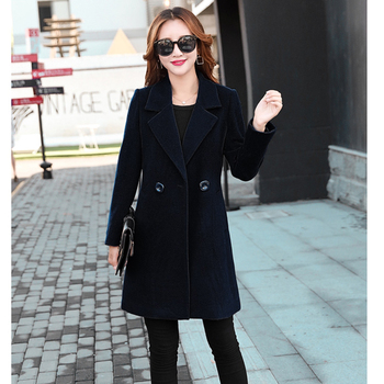 Winter Slim Large size Women Woolen Jacket 2020 New Casual Medium long Solid color Long sleeve Women Woolen Jacket S-4XL SES772 2