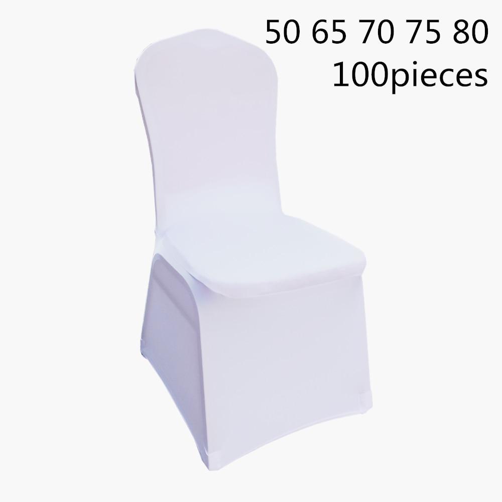 ขนาดใหญ่ 50 65 70 75 80pcs สีขาวขัดผ้ายืดโพลีเอสเตอร์งานแต่งงาน Spandex เก้าอี้ครอบคลุม-ใน ผ้าคลุมเก้าอี้ จาก บ้านและสวน บน   1