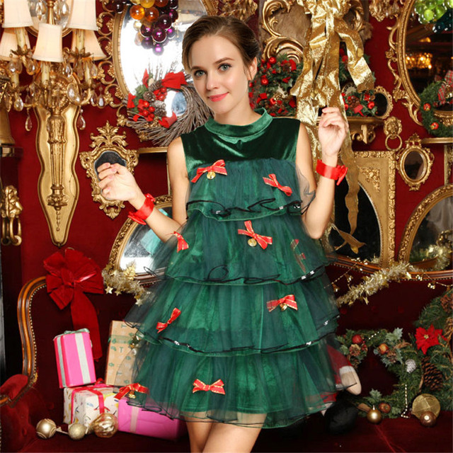 high quality green elf christmas tree color dress christmas bells night club show ds costumes