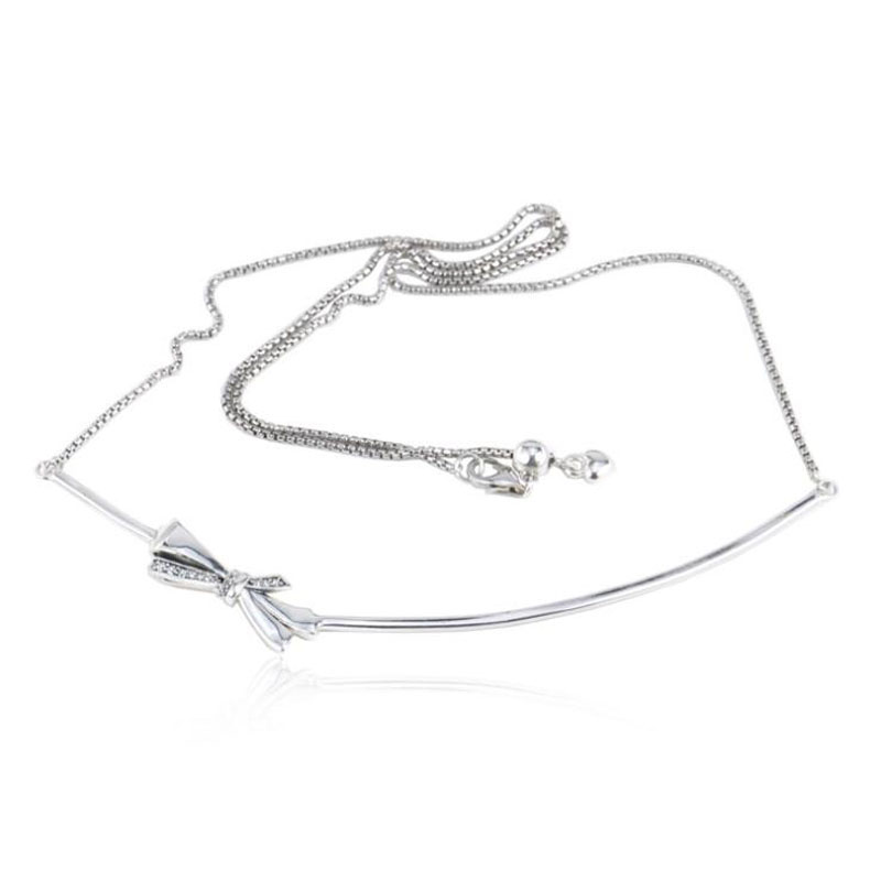 New Arrival European Good Quality Beautiful 925 Sterling Silver Brilliant Bow Necklace