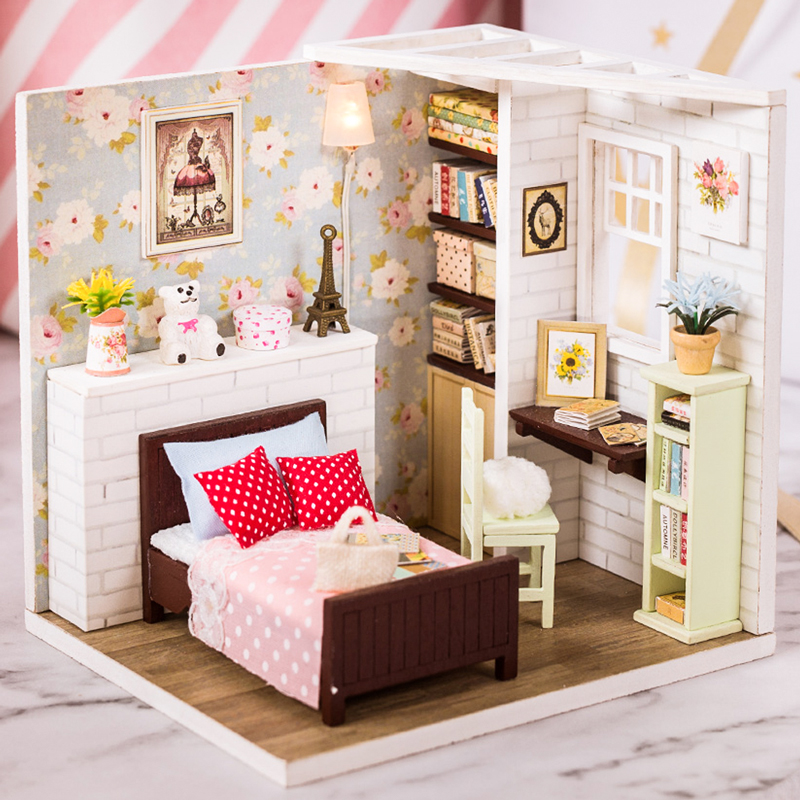 Cutebee Doll House Furniture Miniature Dollhouse DIY Miniature House Room Casa Toys For Children DIY Dollhouse M09F
