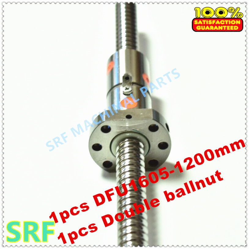 16mm Dia  Ballscrew RM1605 set:1pcs 1605 Rolled ball screw L=1200mm C7 +1pcs Double Ball nut without end machined кабель n2xs fl 2y 1x50 rm 16