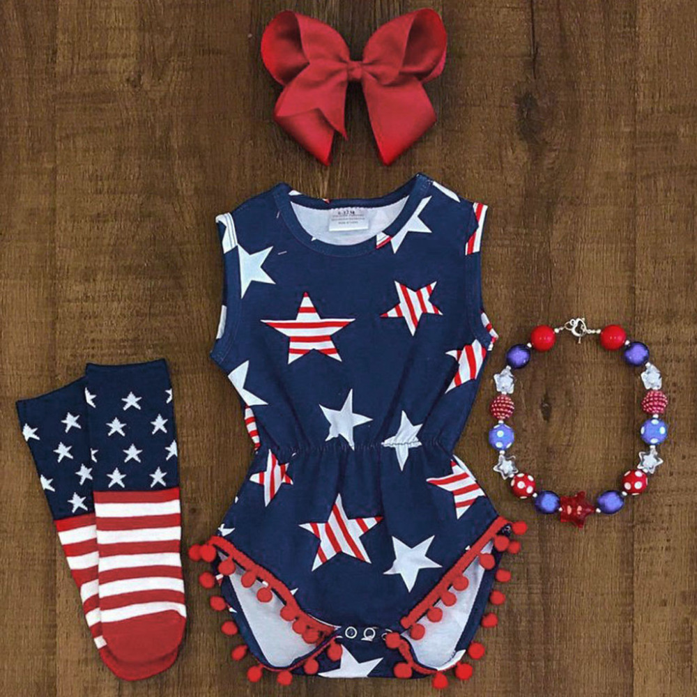 Baby Boys Girl Clothes Sets 4th of July Sleeveless Outfits Stars and Stripe Patriotic   Romper   Baby Clothes Baby   Rompers   Summer