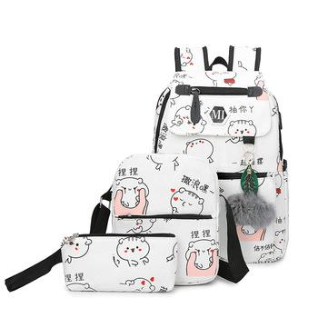 3-sztuka zestaw torby szkolne płótnie nastolatek plecak dla dziewcząt na co dzień klasyczne kobiety mody plecak torby szkolne damskie torebki na ramię tanie i dobre opinie Fengdong CN (pochodzenie) Płótno zipper Backpack 0 7kg Canvas 37cm Cartoon schoolbag280 Unisex 12cm 27cm mochilas mujer feminina bags for women
