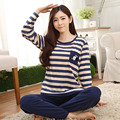 2016 Новых женщин Пижамы Устанавливает Весной и Осенью Шею Длинными рукавами Повседневный Стиль Полосатый Домашней Одежды Моряк пижамы