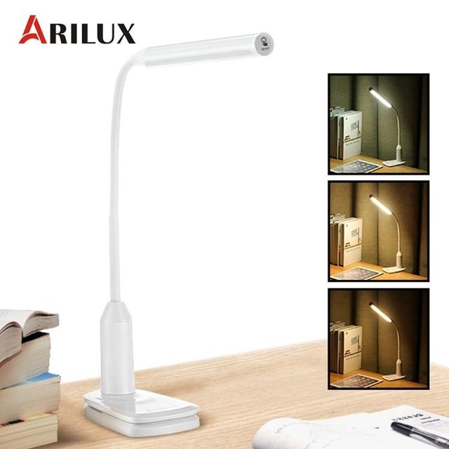 Arilux al-tl02 Гибкая 6 Вт светодиодный настольная лампа USB Перезаряжаемые сенсорный затемнения чтения светодиодный настольная лампа клип на зажим свет
