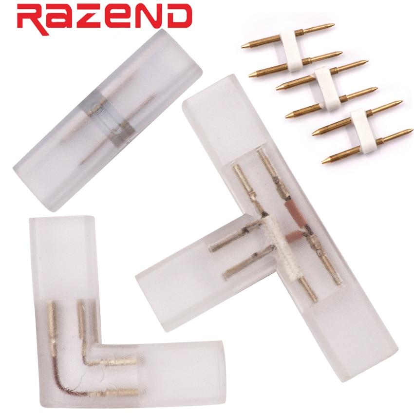 2 Pin I L T Shape Corner Connector Middle With Copper Needle Plug For 110V 220V LED Strip 5050 3014 2835 Single Color