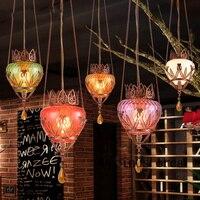 Турция Стиль маленькая люстра Юго Восточной Азии стиль персонализированные обеденный стол бар стекло подвесной светильник доставка беспл