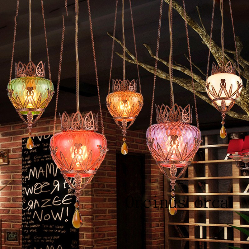 Turkey style small chandelier Southeast Asian style personalized dining table bar glass pendant lamp Postage free bison rolling grill