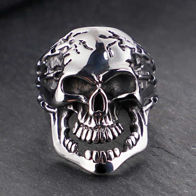 STAINLESS STEEL VINTAGE SKULL RING
