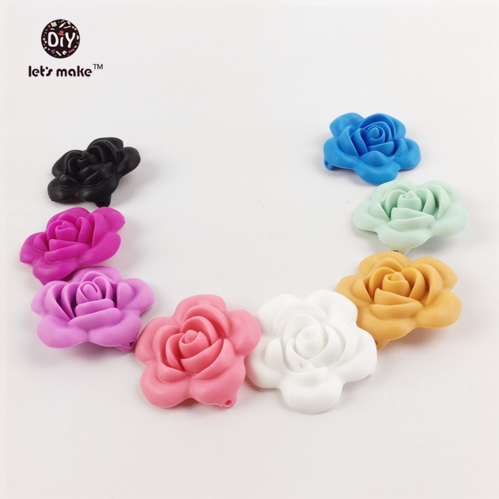 Honest Lets Make Wholesale 200pc Rose Flower 3d Silicone Beads Diy Jewelry Sensory Baby Gym Toys Teething Accessories Nursing Pendant In Short Supply Jewelry & Accessories