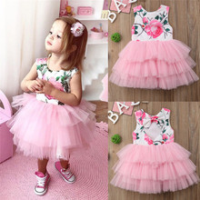 Toddler Kids Baby Girls Princess Flowers Pageant Tutu Tulle Dress Birthday Party Clothes