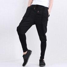 Men fashion casual pant fake two splice pants elastic dancing harem pant male street hip-hop slim fit trousers sweatpants A74