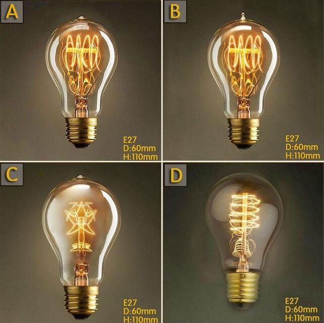 a19 vintage 40w e27 edison light bulb five star tungsten filament retro lights bulbs pendant