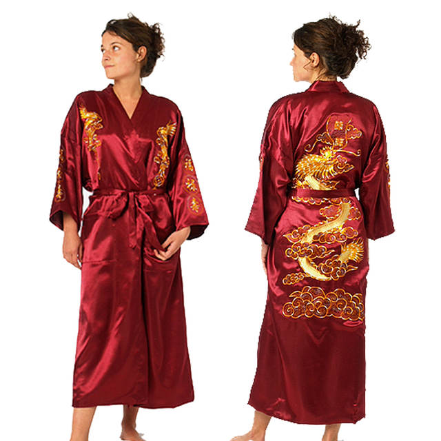 Online Shop Bath Robe Women Chinese Style Satin Robe Embroidery