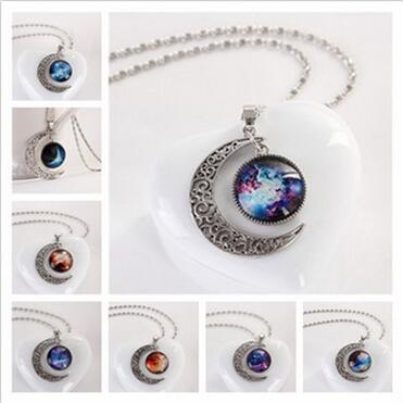 6bb0fa10b82 XL1044 Silver crescent moon moonstone necklace with Galaxy cosmic universe  nebula star charm jewelry for gift