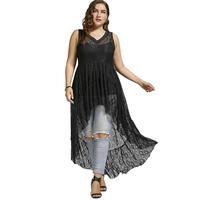 LANGSTAR 2017 Plus Size 5XL High Low Sexy See Through Lace Long Shirt Women Summer Oversize
