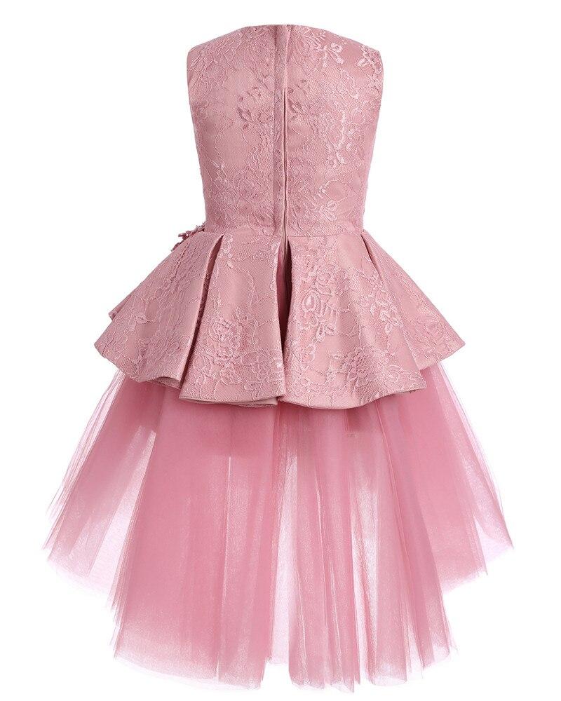Enfants mode robe fille princesse fleur mariage rose robe enfants fille effectuer Costume Catwalk fête d'anniversaire mignon robe - 4